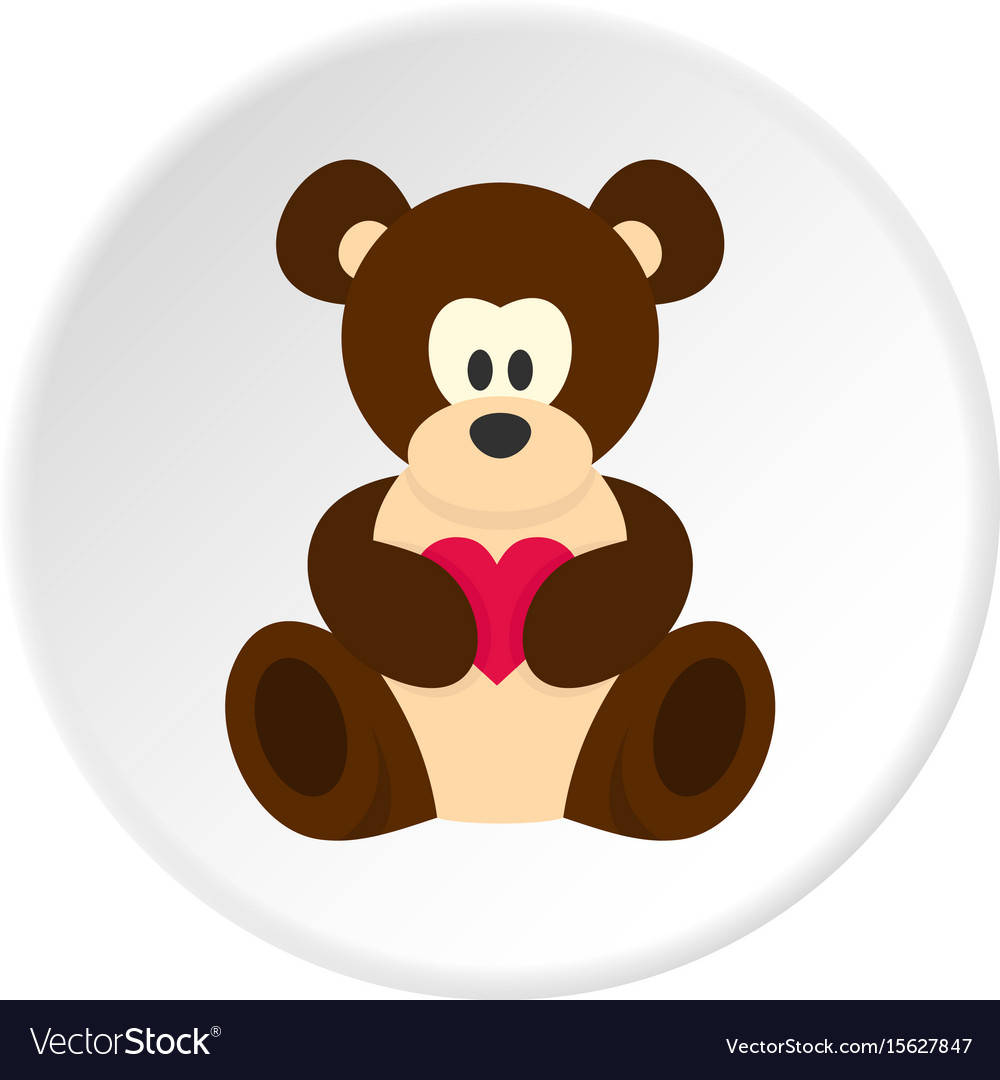 Teddy bear with pink heart icon circle vector image