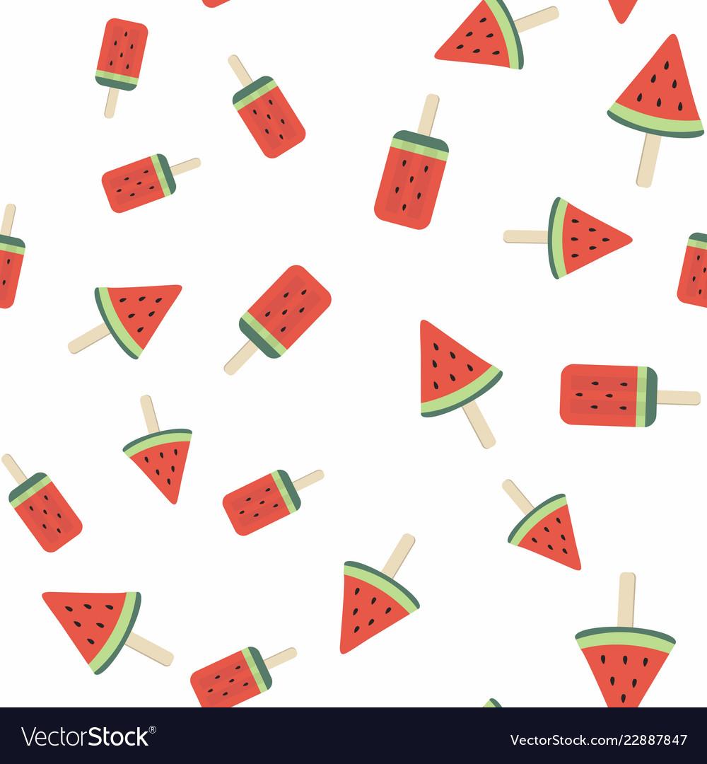 Watermelon ice cream seamless pattern background