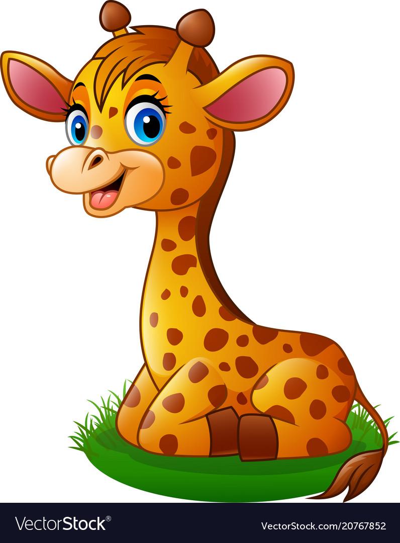 Cartoon baby giraffe Royalty Free Vector Image