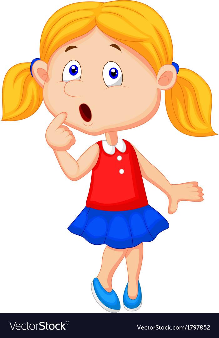 Cute Girl Cartoon Thinking Royalty Free Vector Image