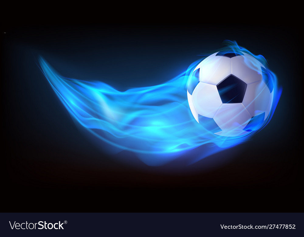 Football balls flying in fire falling in flame