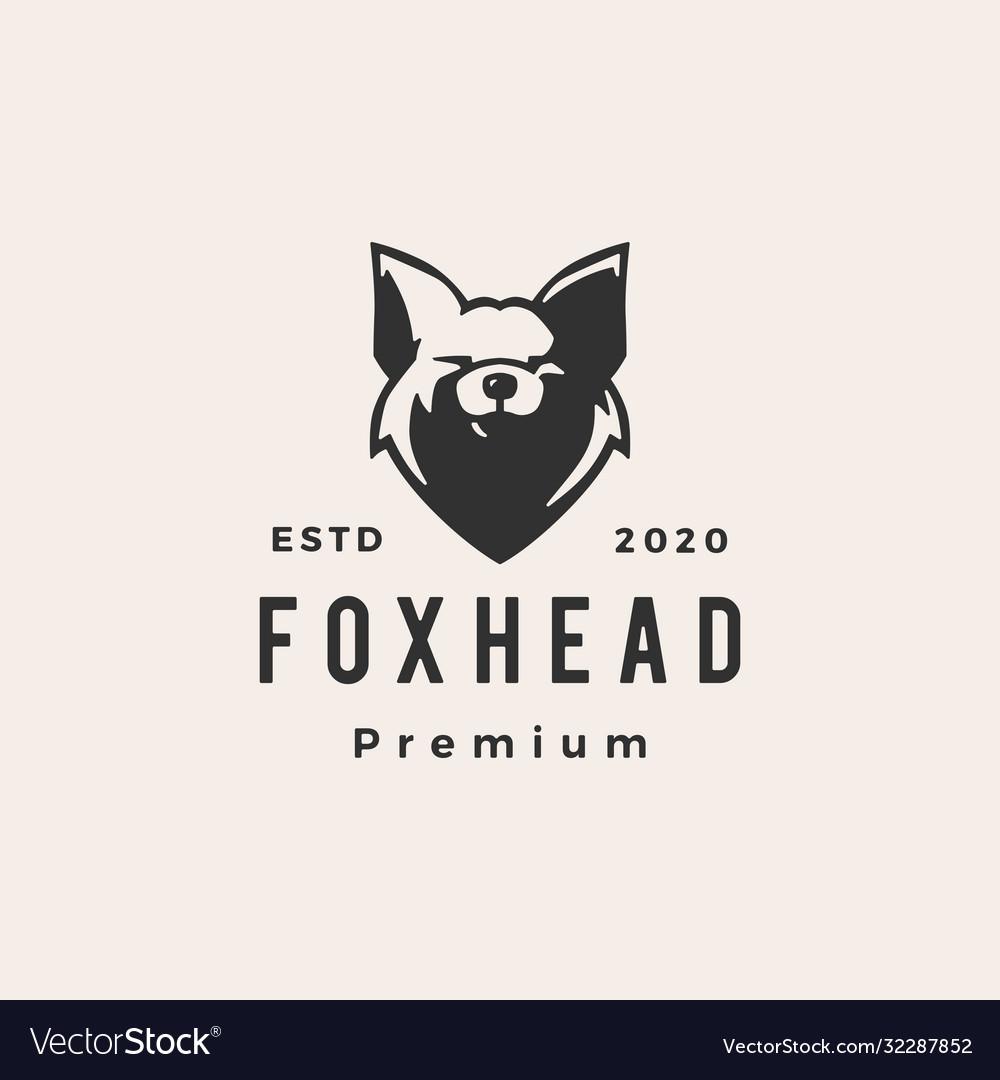 Fox head hipster vintage logo icon