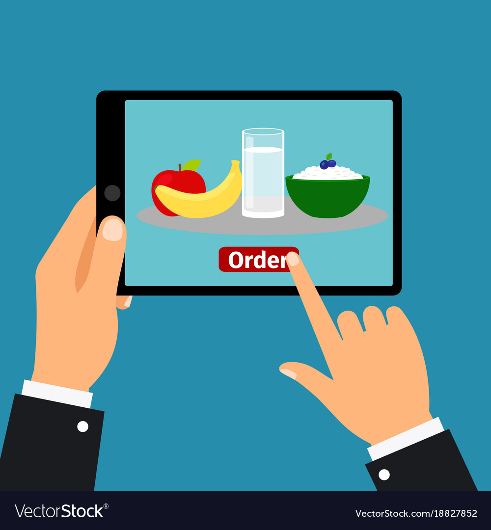 Hand holding tablet order food