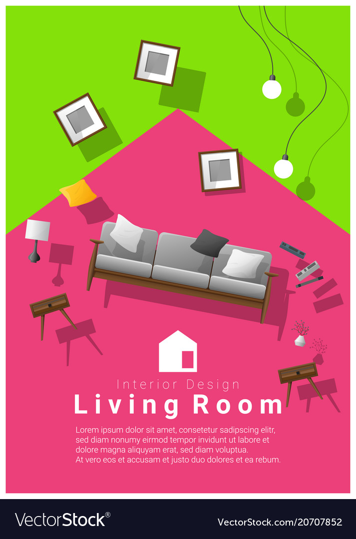 Interior banner sale with living room furniture Vector Image