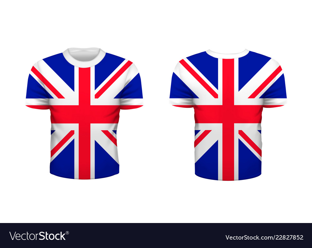 Realistic sport t-shirt with great britain flag