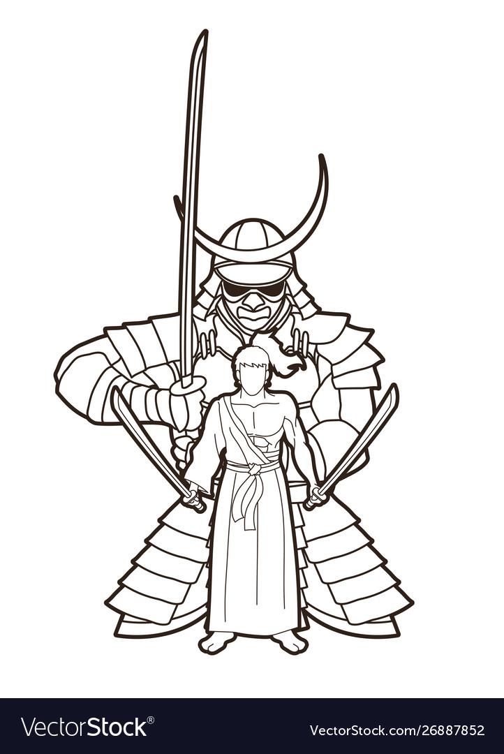 Samurai warriors with swords action cartoon