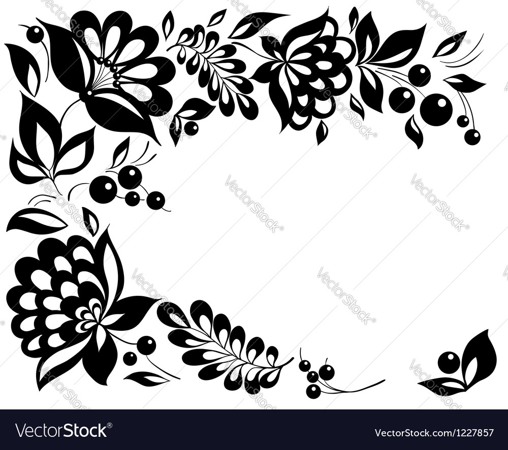 Black-and-white flowers and leaves
