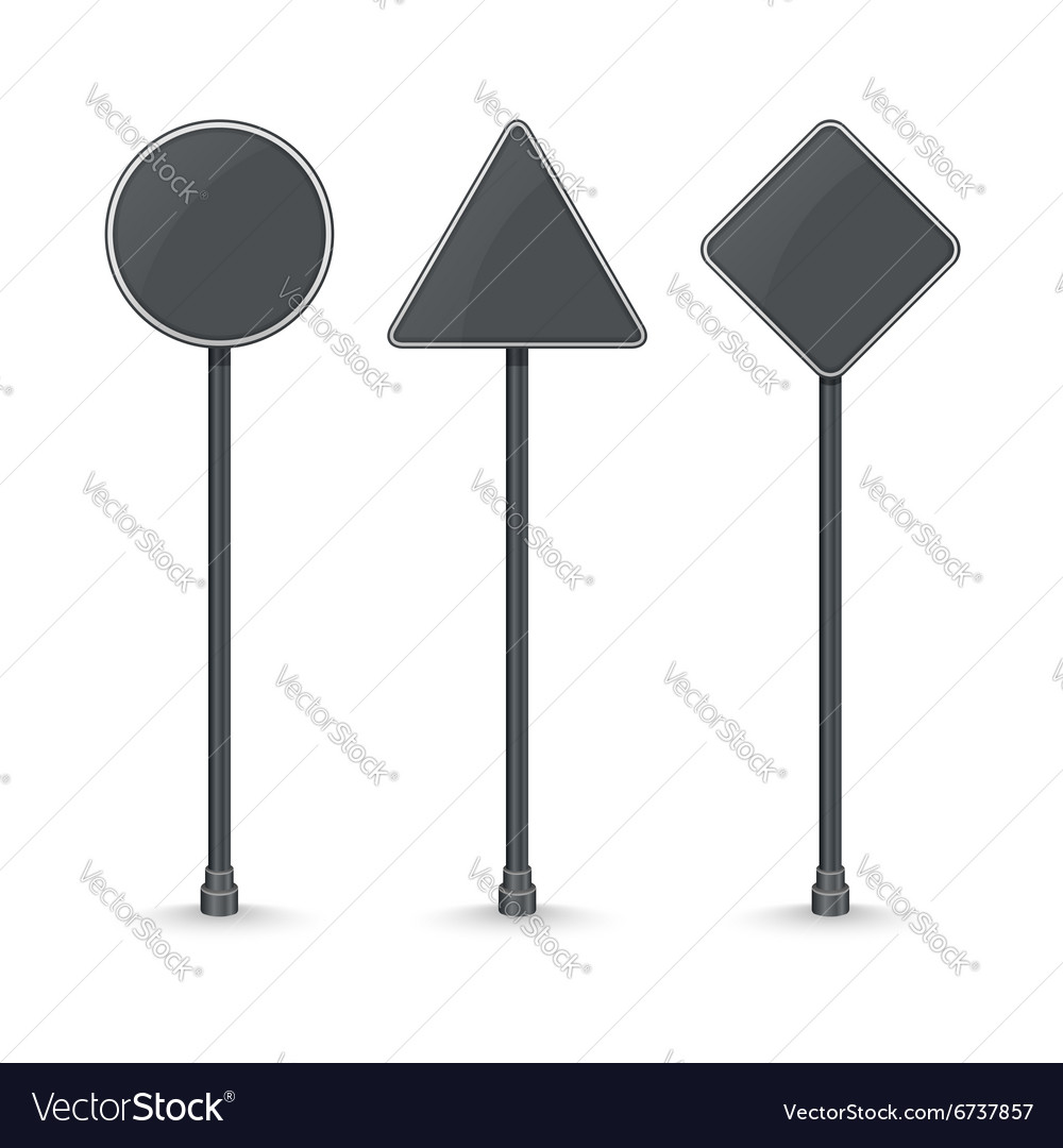 Blank black traffic road signs on white background