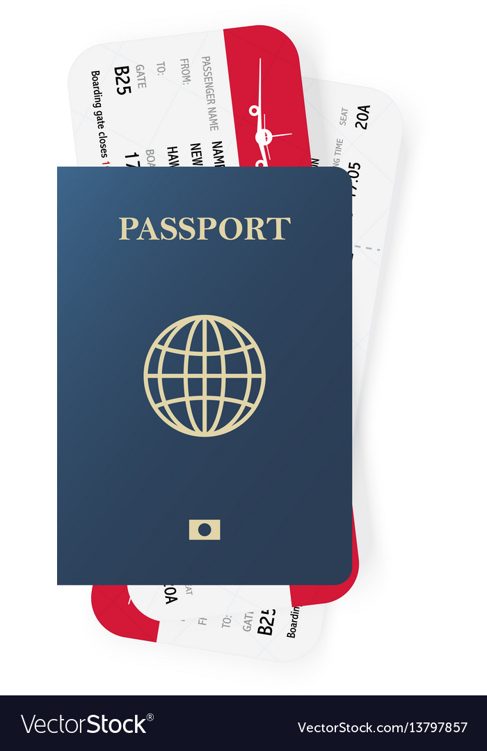 Blue passport and boarding pass tickets realistic