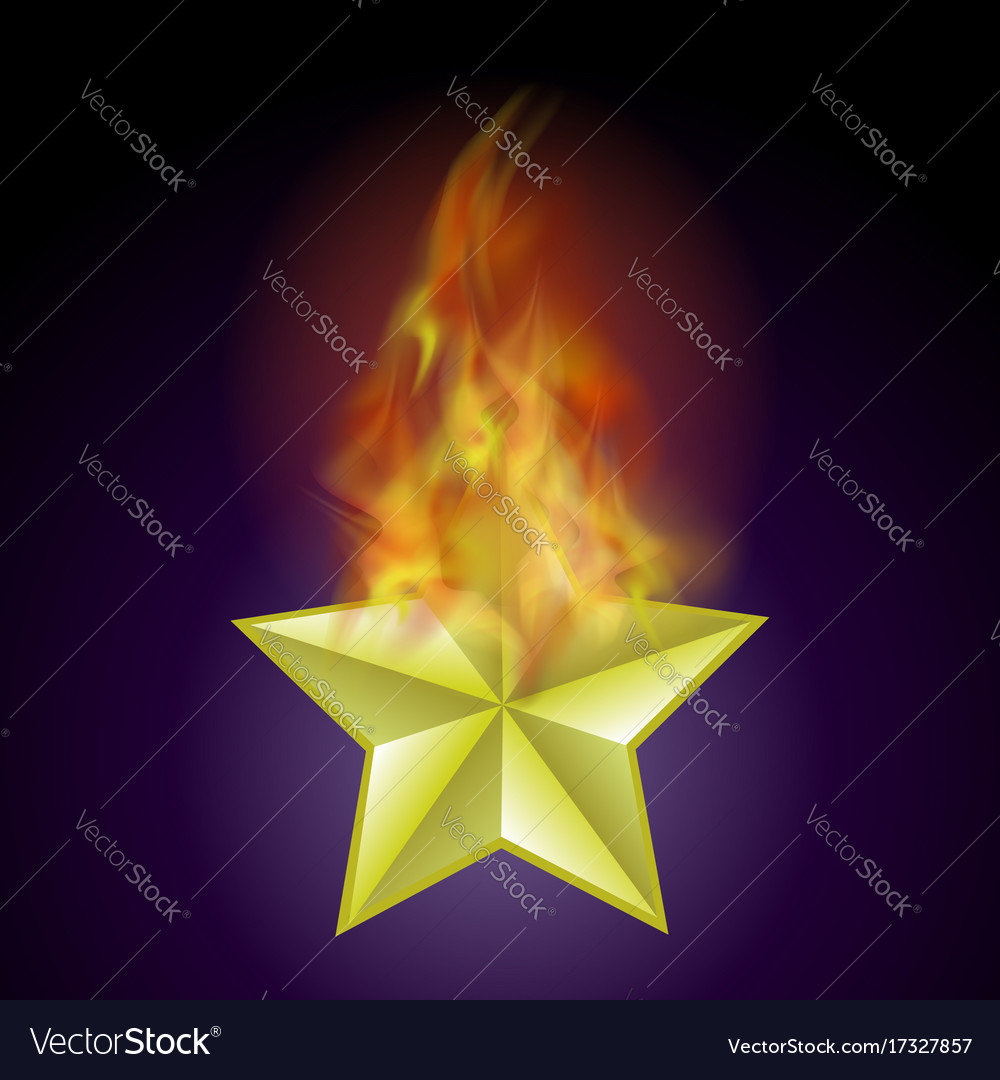 Burning star with fire flame