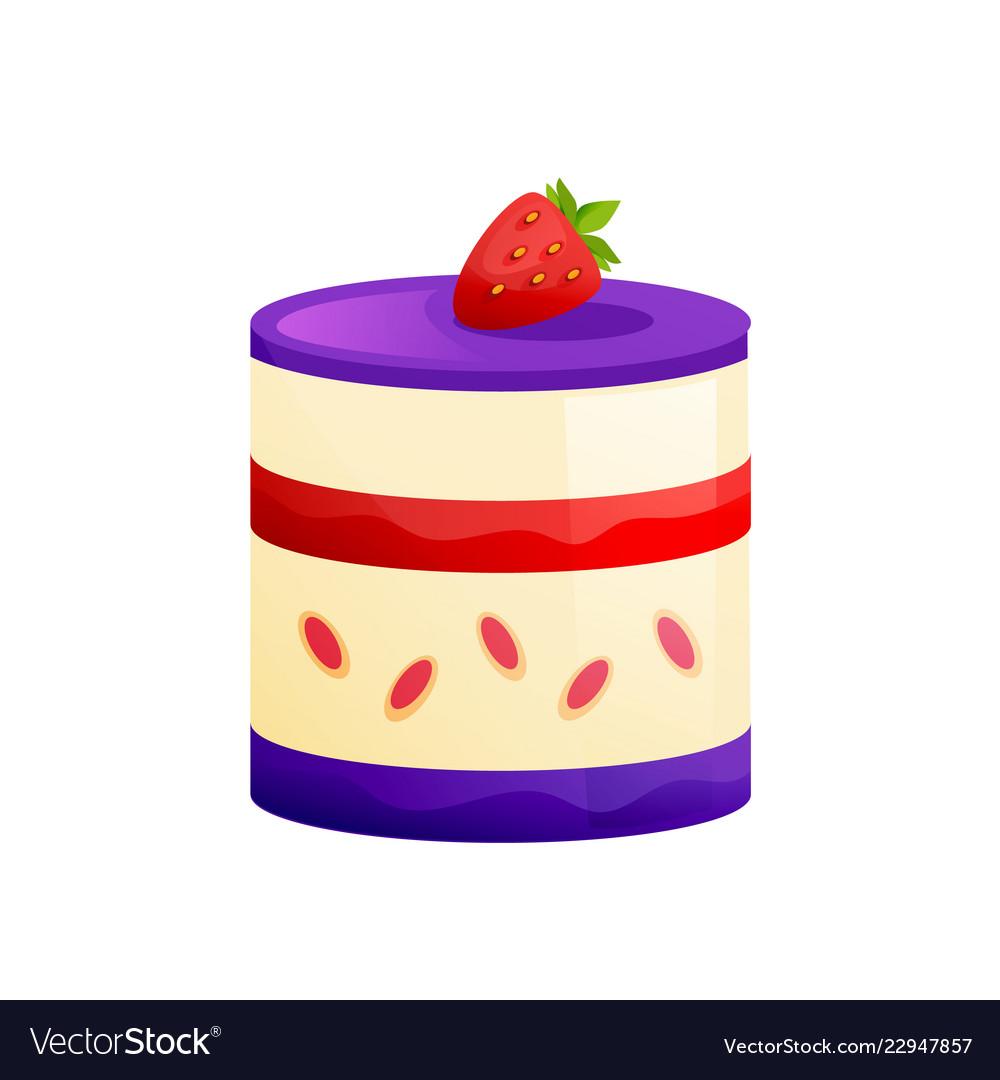 Cake with icing-sugar fresh strawberries sweet
