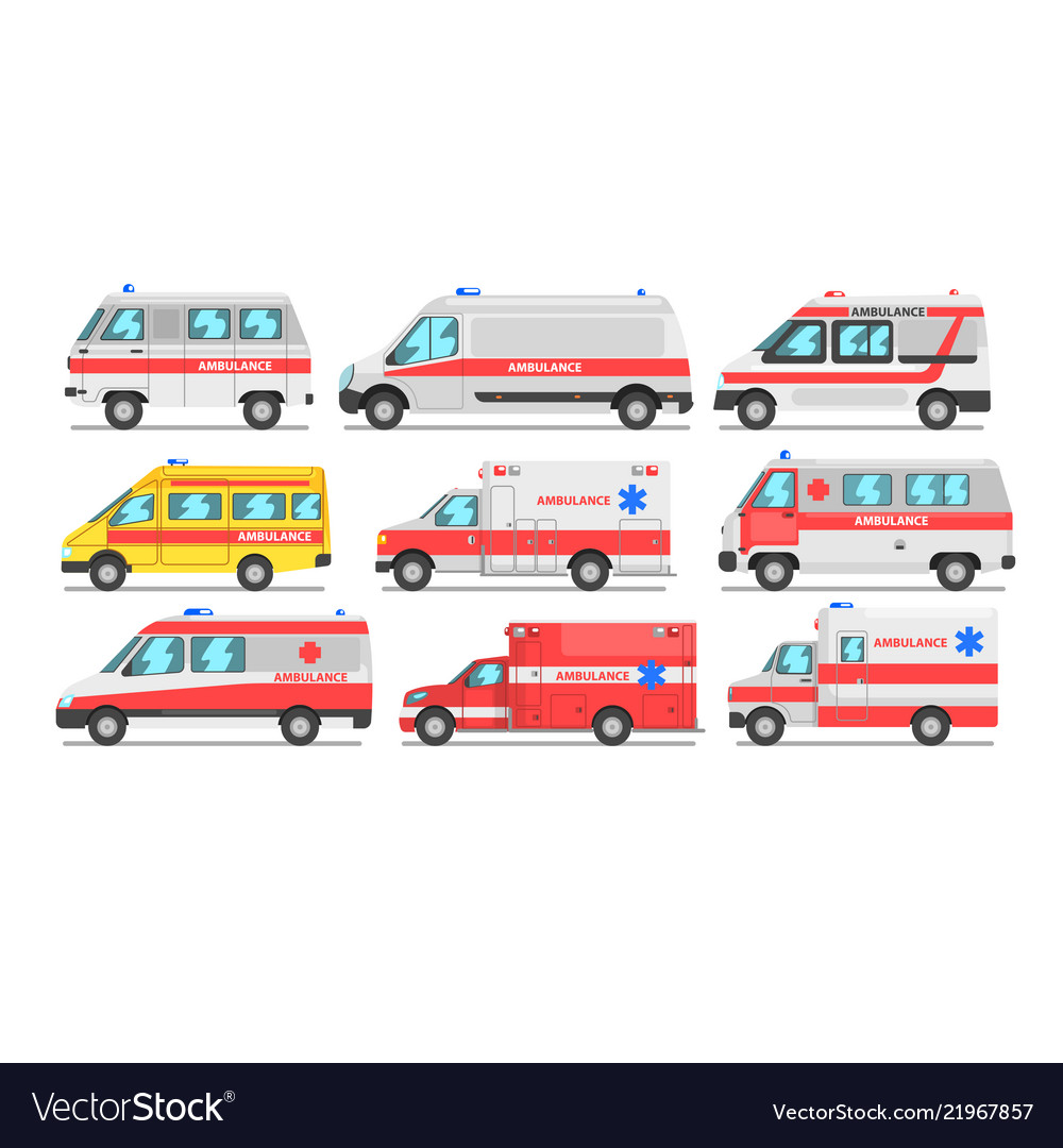Collection of ambulance service cars emergency