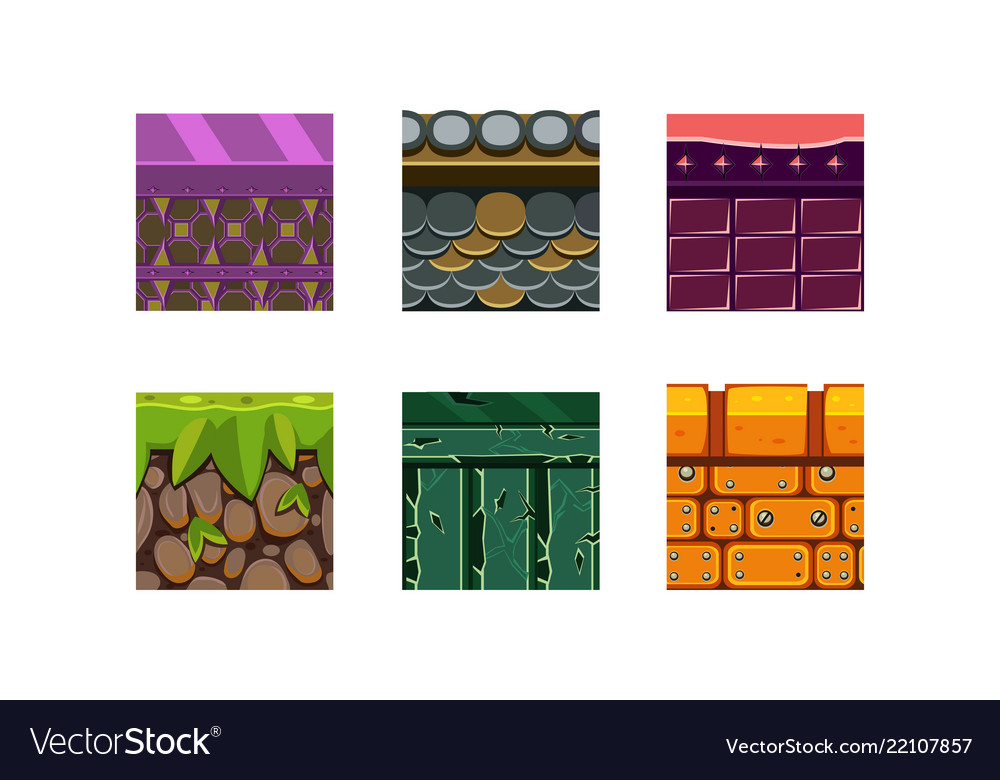 Flat set of 6 texture types and materials