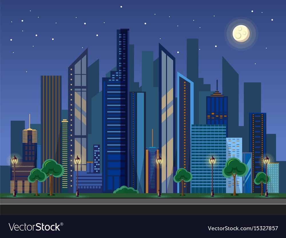 Flat style modern design urban night city