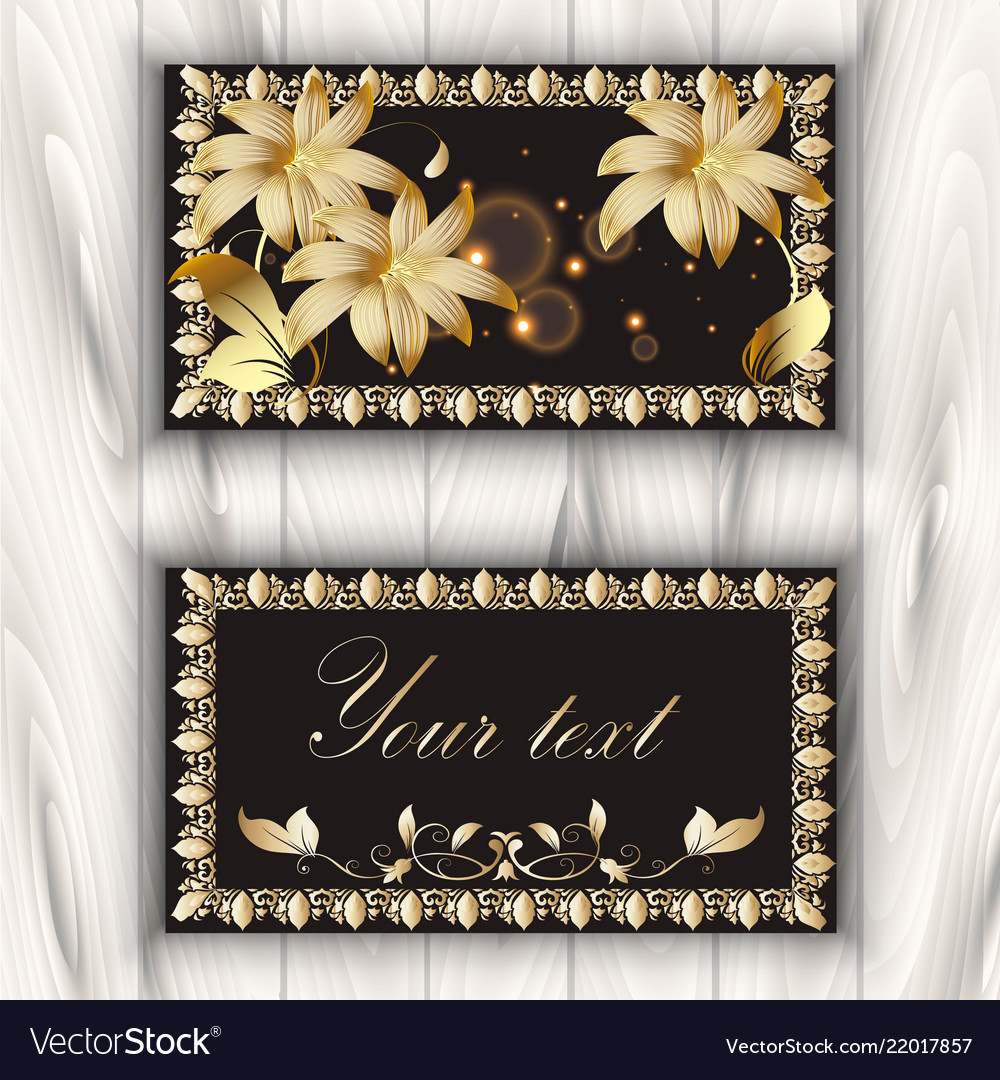 Greeting card with gold 3d flowers and vintage
