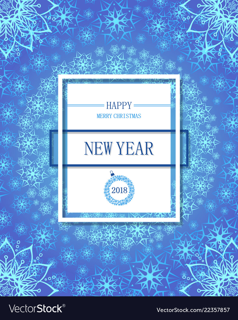 Happy new year poster or flayer white snowflakes