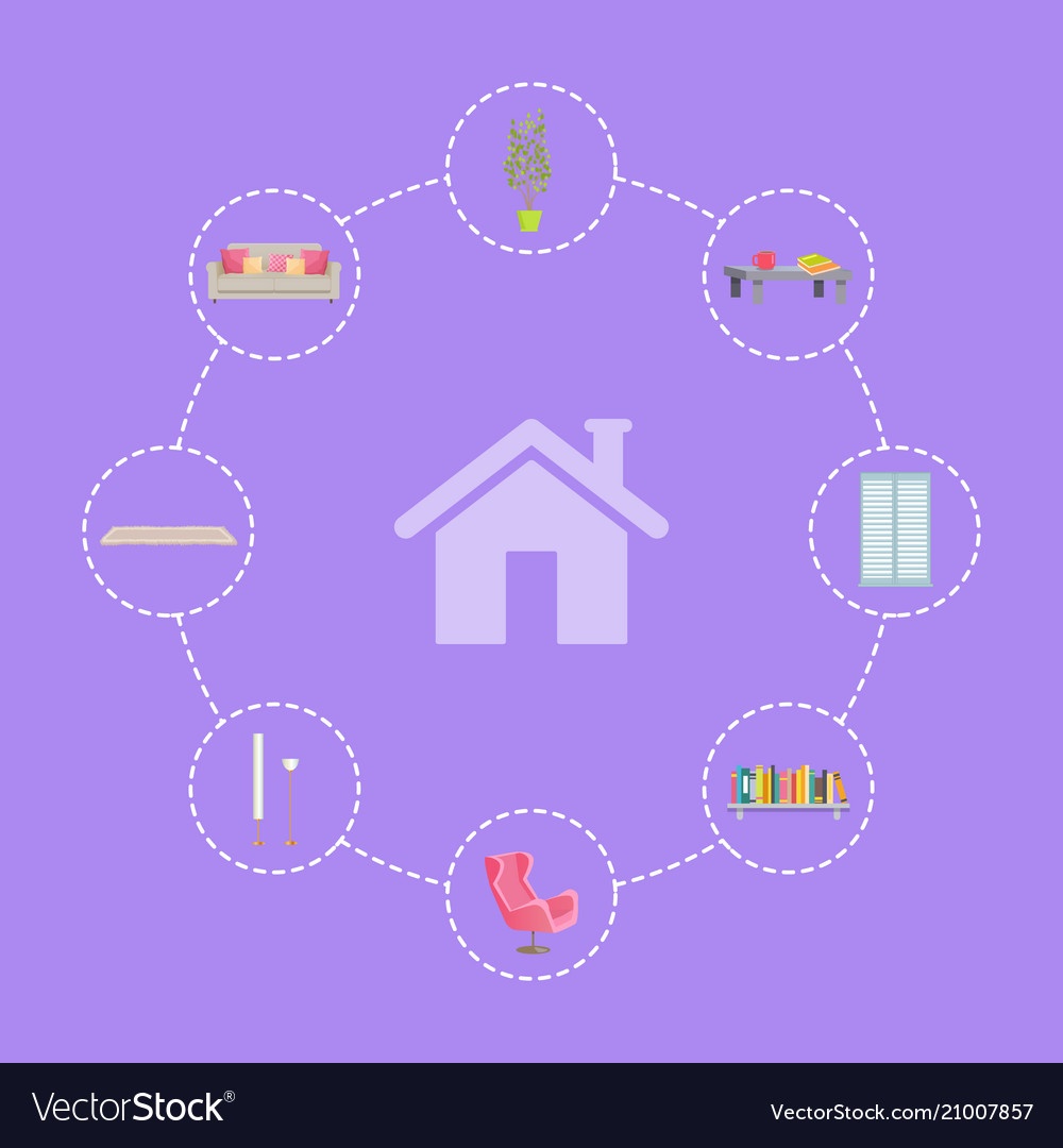 Home interior icons set lines vector image