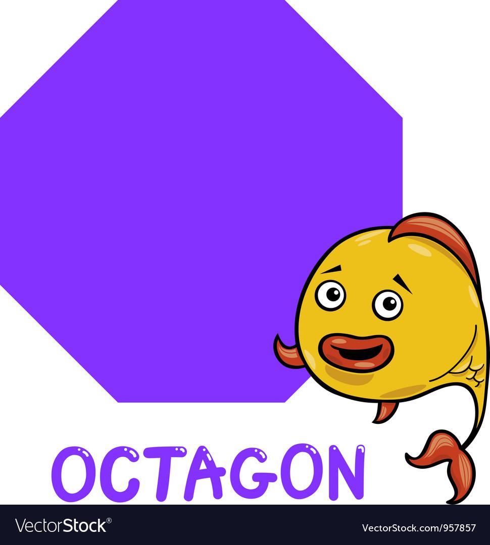 Octagon shape with cartoon fish vector image