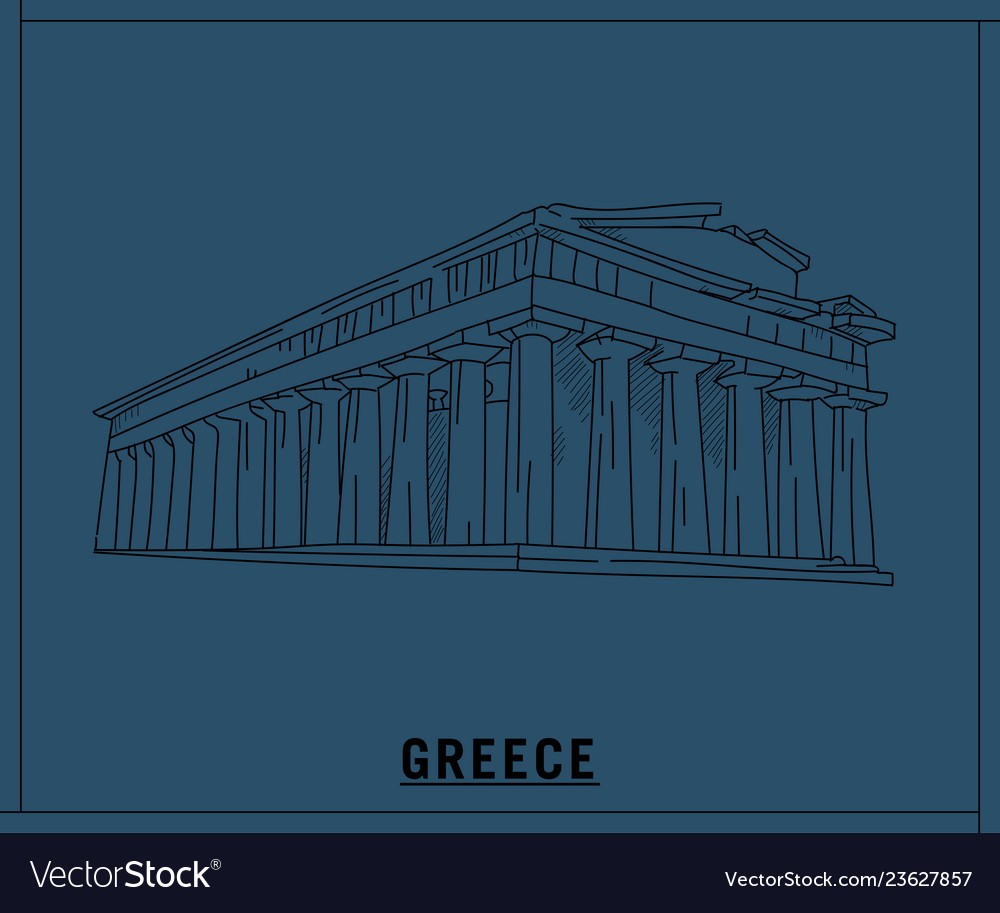 Parthenon greecehand drawn sketch