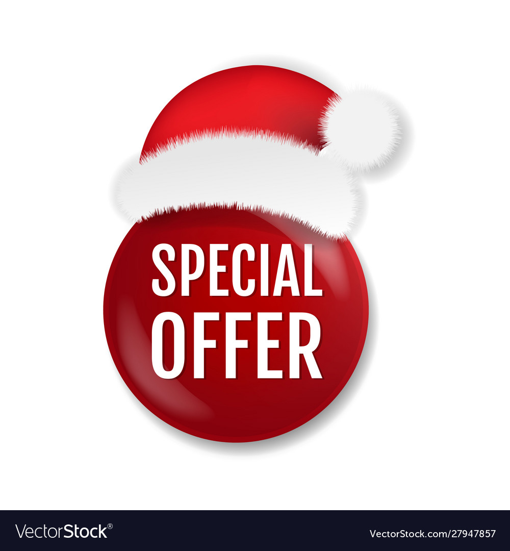 Sale badge isolated with santa claus cap white