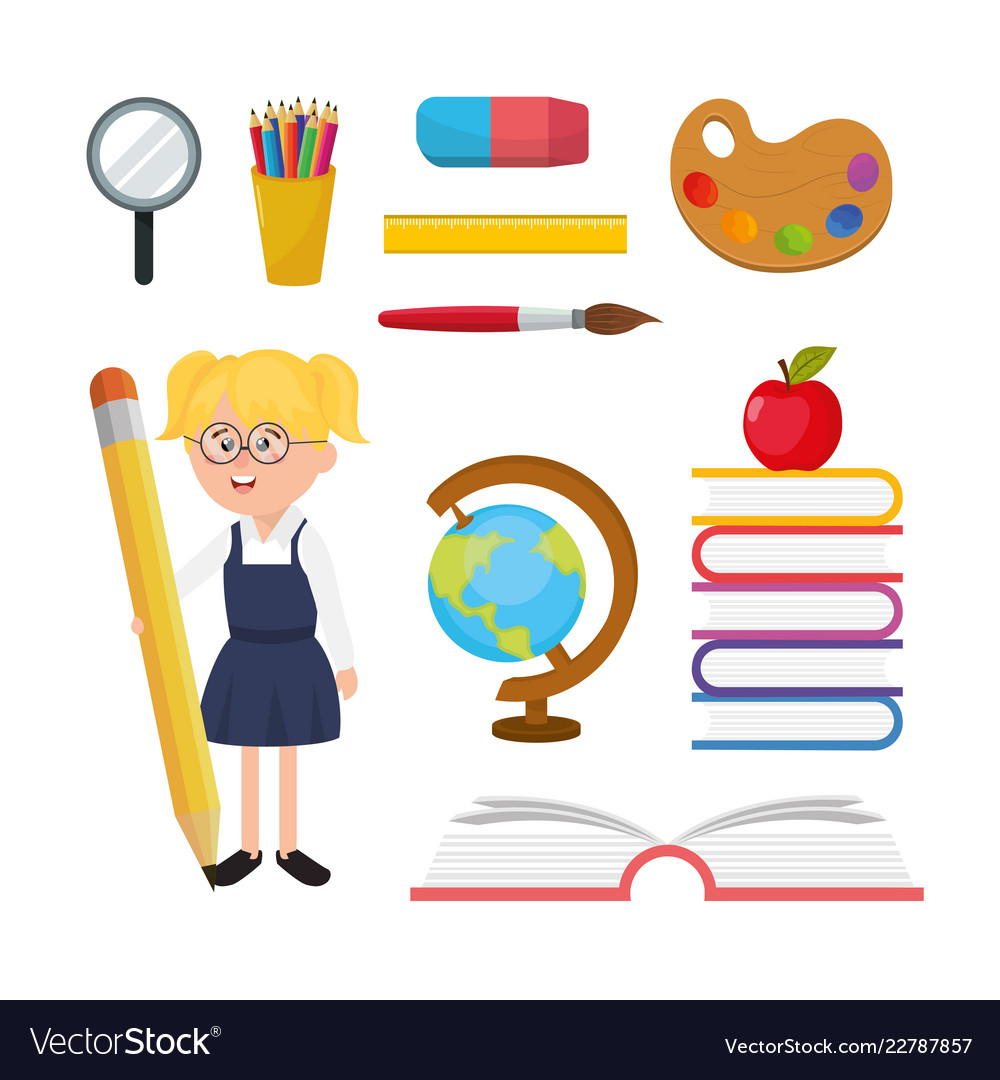 Set girl student with education school utensils