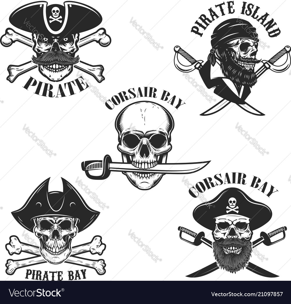 Set of emblems with pirate skulls and weapon