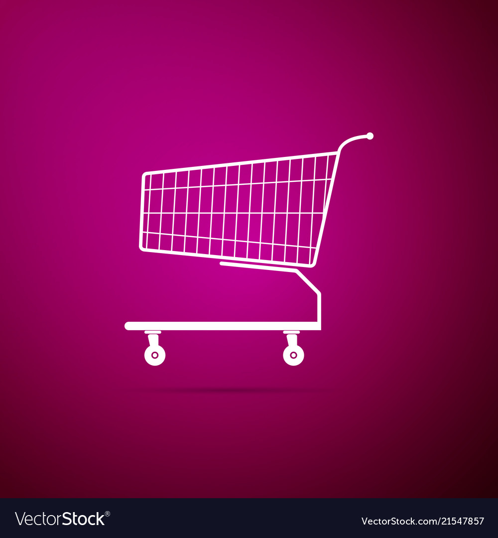 Shopping cart icon isolated on purple background