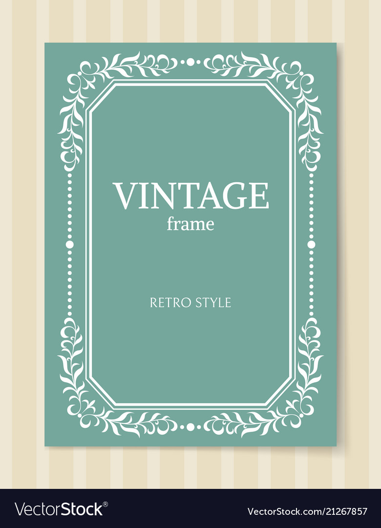 Vintage frame retro style decorative foliage