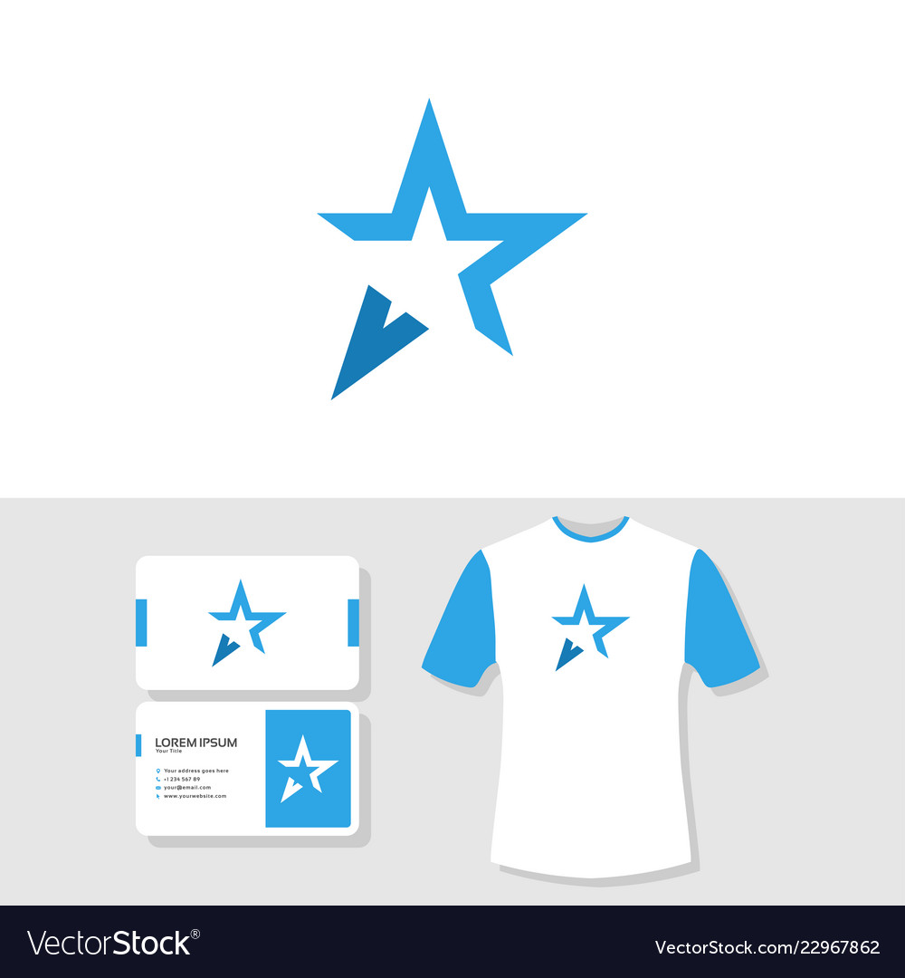 Abstract star logo business card and t shirt