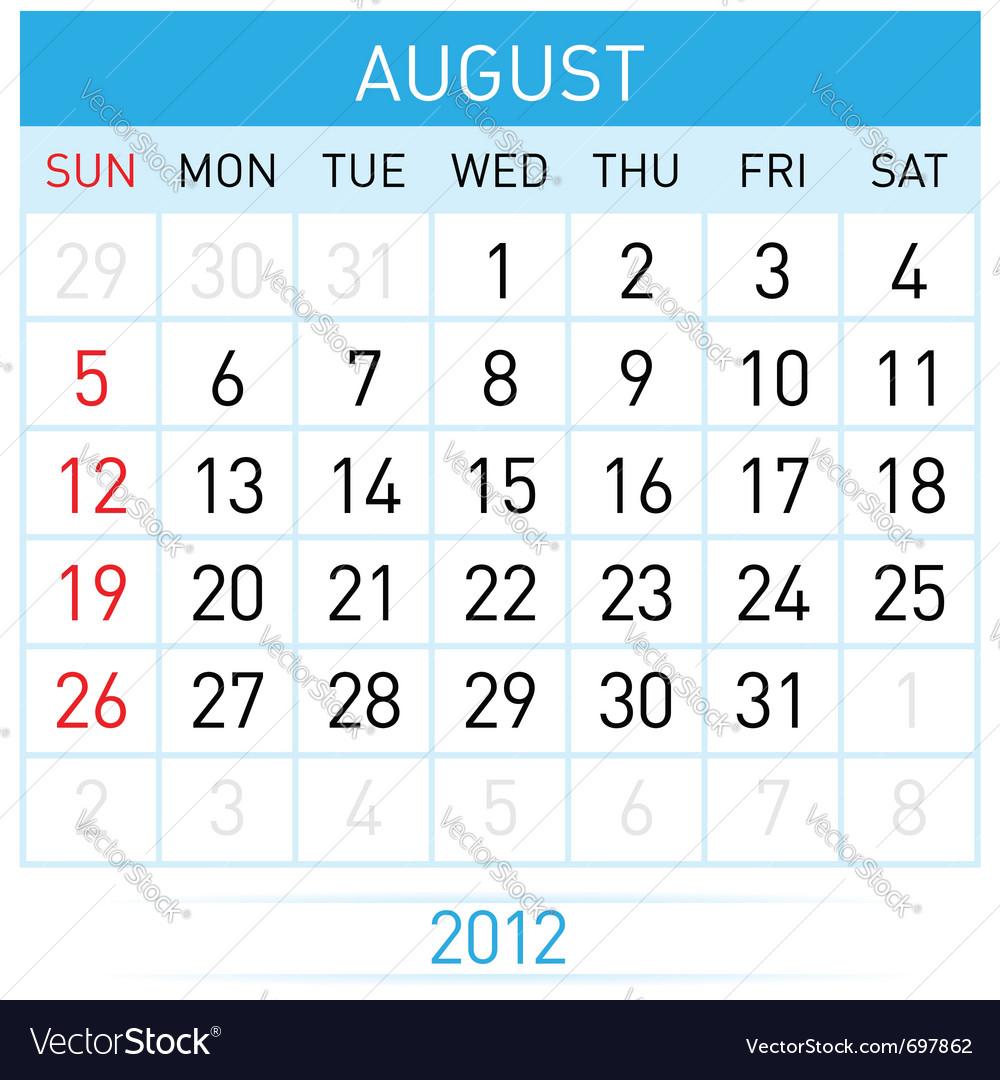 August calendar vector image