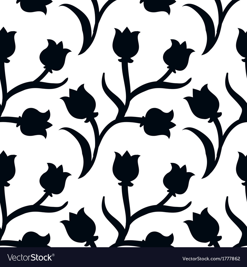 Ditsy Floral Pattern With Black Tulips On White Vector Image