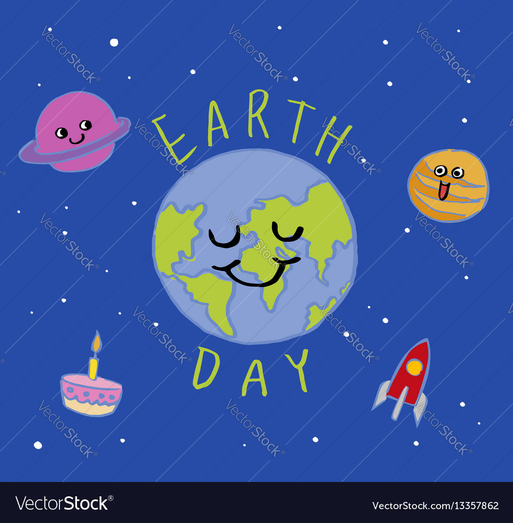 Earth day typography cartoon