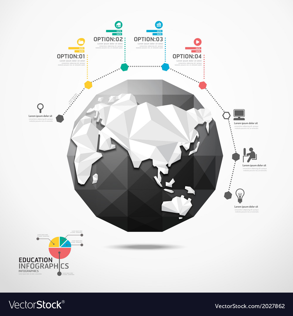 Globe world map infographics geometric concept vector image gumiabroncs Gallery