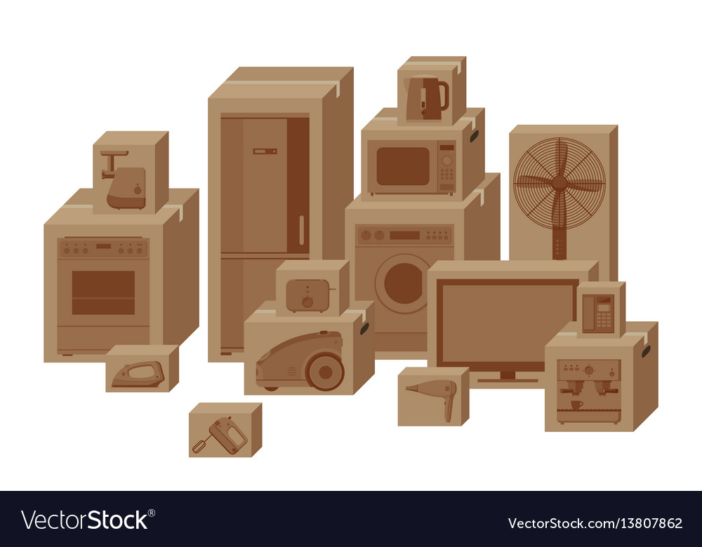 Household appliances in boxes