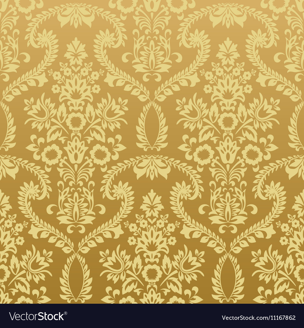 Seamless Floral Vintage Gold Wallpaper Royalty Free Vector