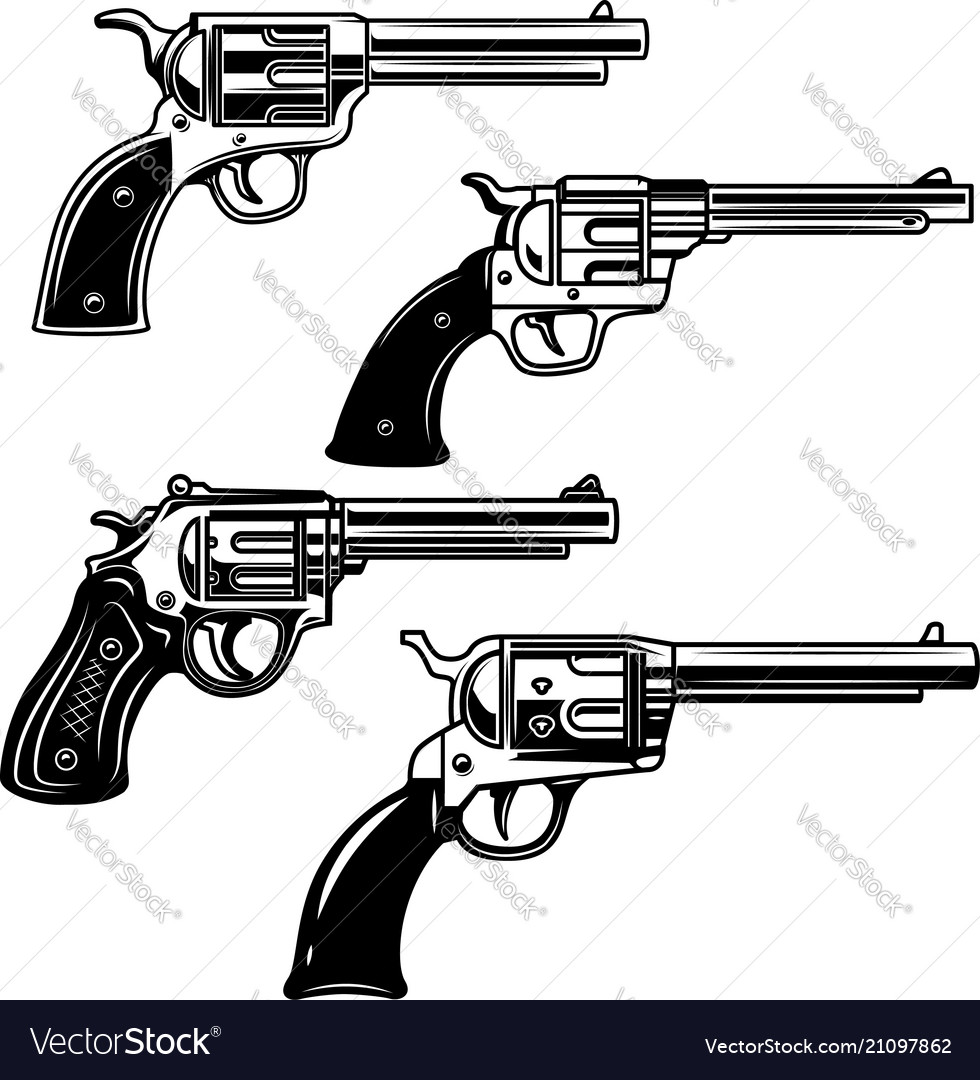 Set of revolvers on white background design
