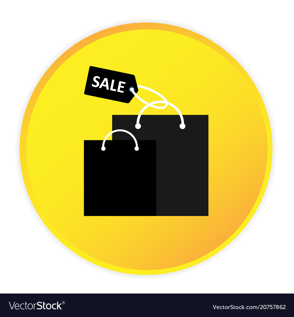 Shopping bag icon yellow circle frame background v vector image
