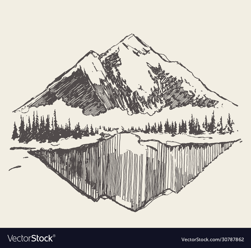 Two mountains spruce forest and lake sketch