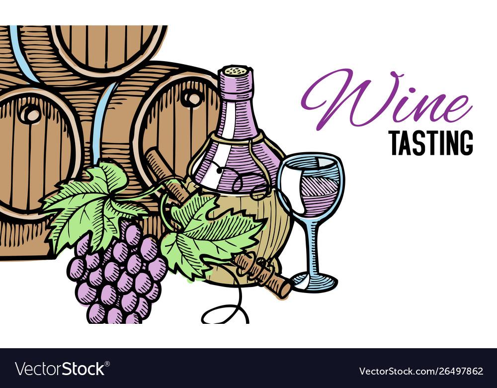 Wine barrel hand drawn with grape vines around