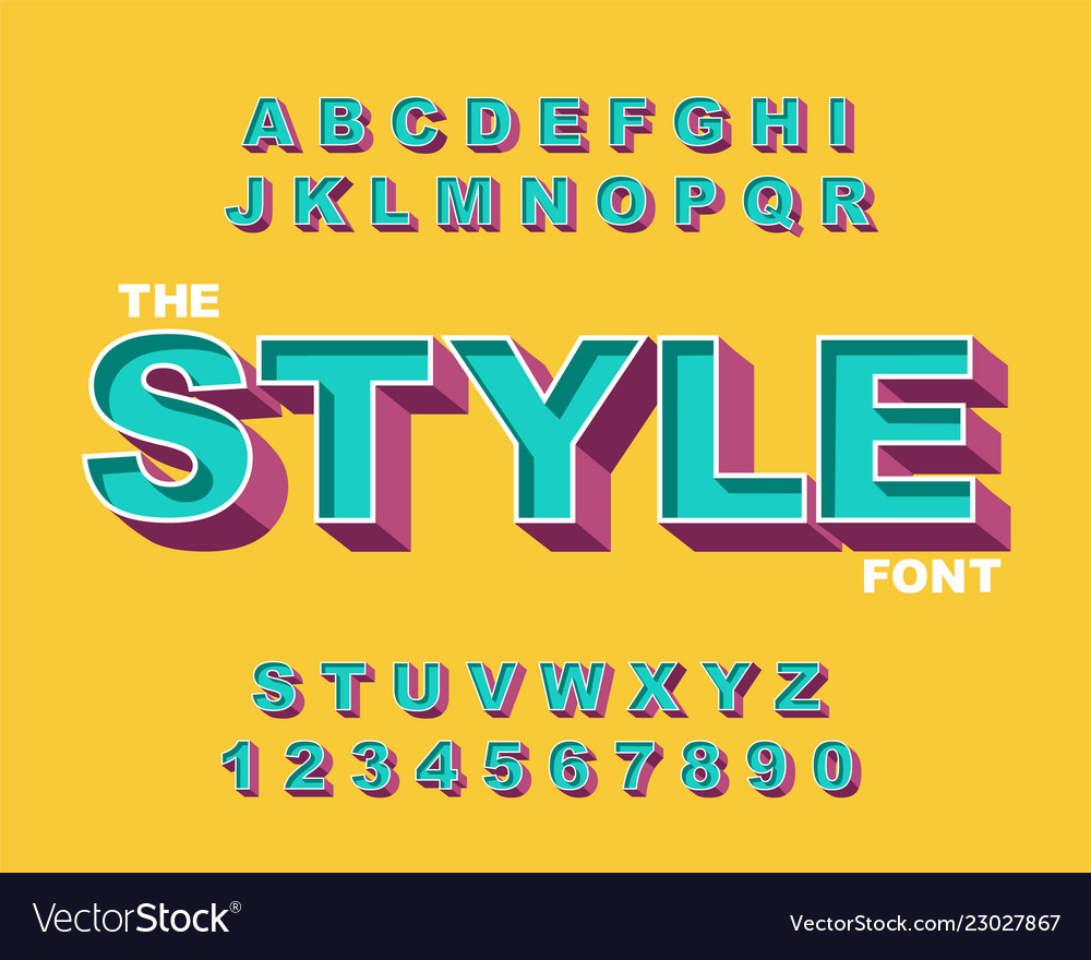 3d bold retro font vintage alphabet 80 s