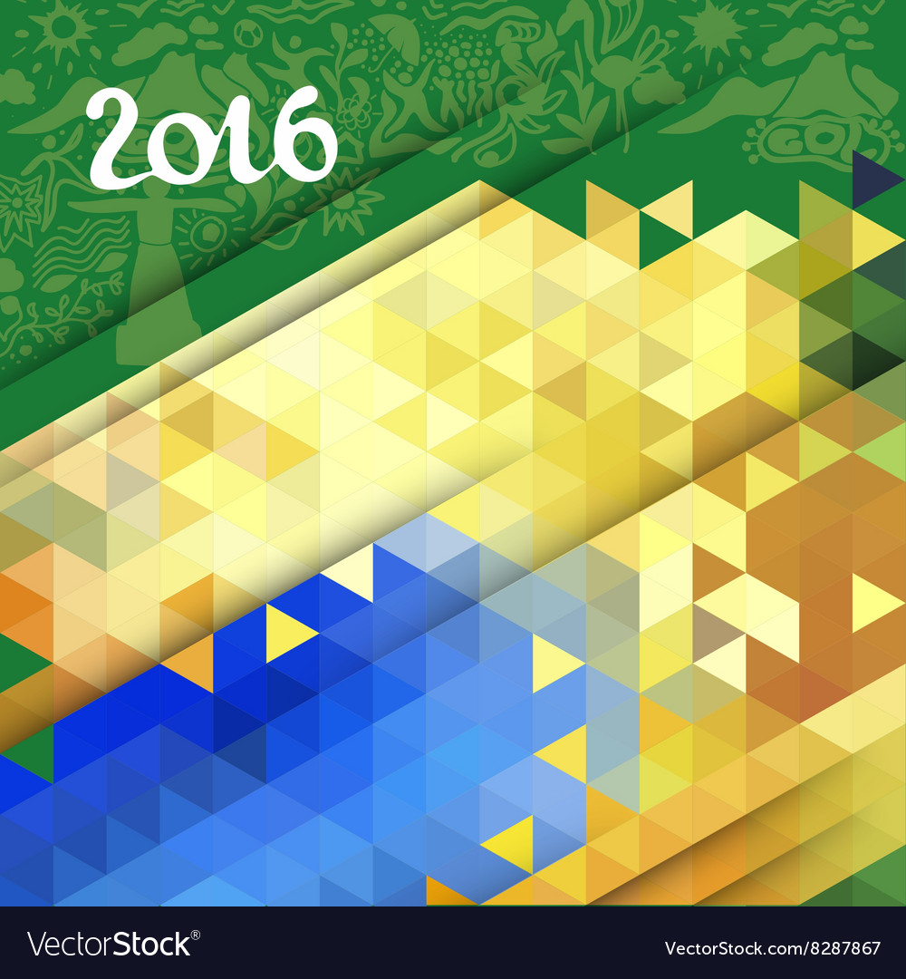 Abstract geometric background in Brazil color