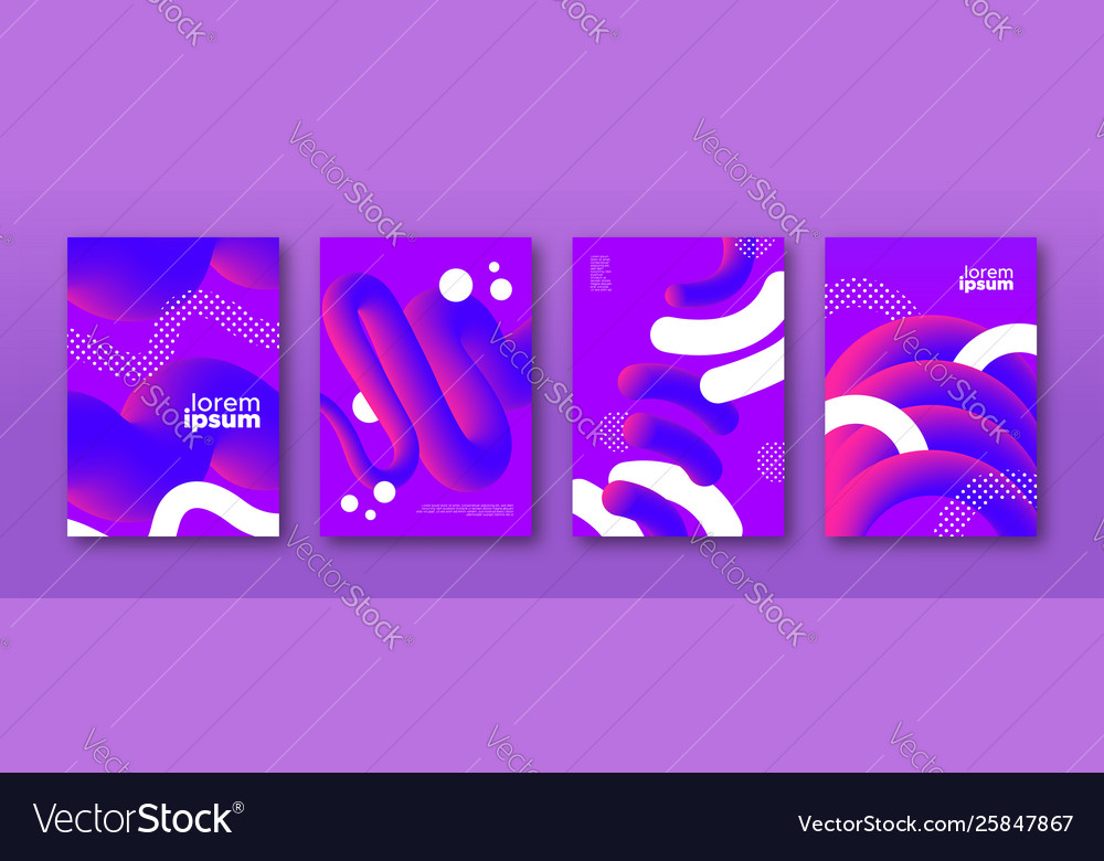 Abstract purple 3d fluid background design set