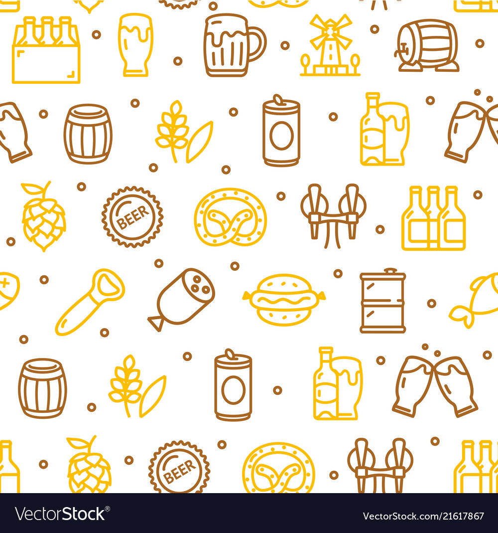 Beer and oktoberfest signs seamless pattern