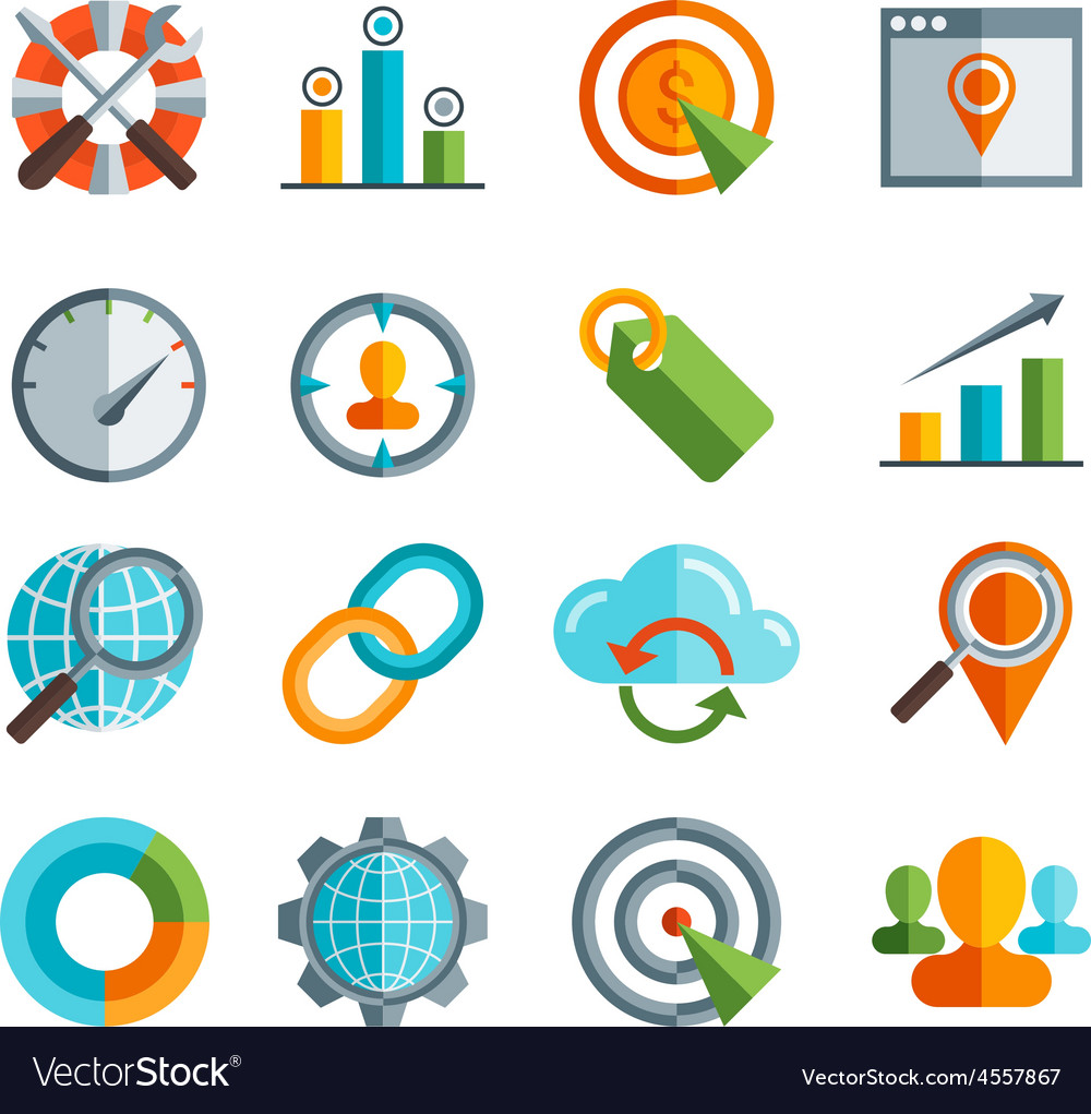 Business SEO Social media marketing flai icon