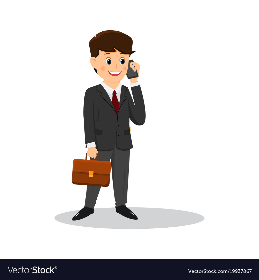 cartoon businessman talking on the phone vector image rh vectorstock com businessman cartoon businessman cartoon drawing