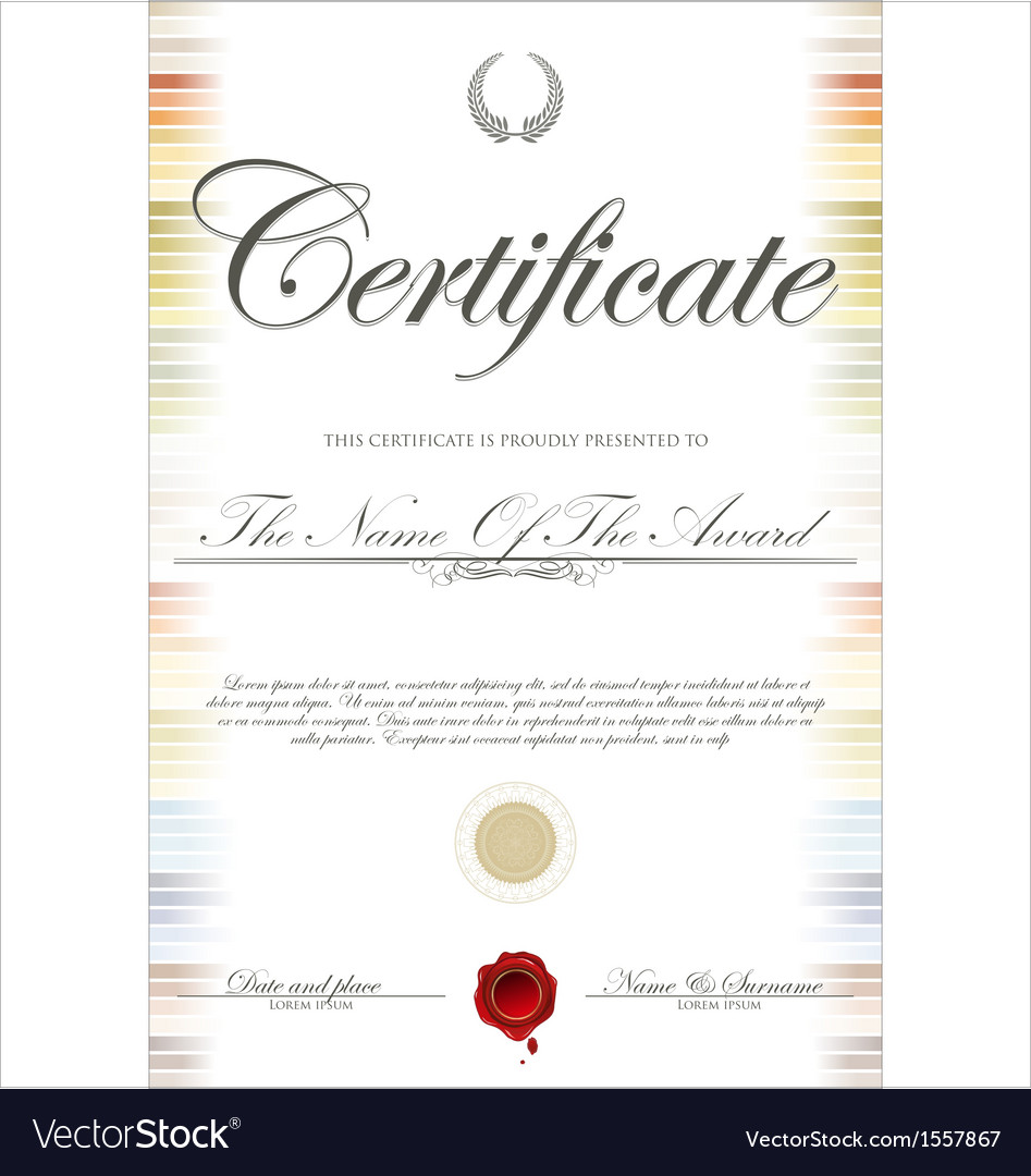 Colorful certificate template Royalty Free Vector Image