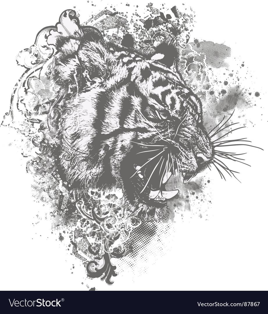 Grunge tiger floral illustration