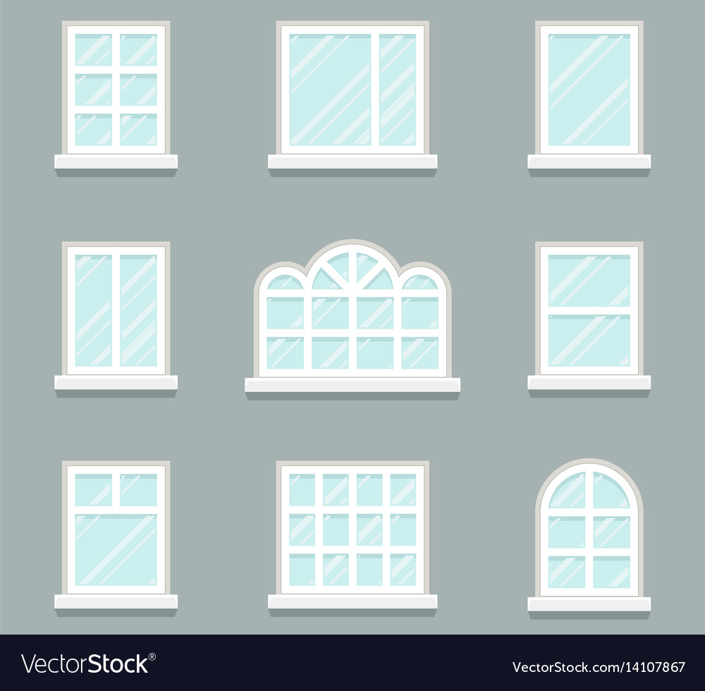 House Windows Building Glass Icons Set Flat Design