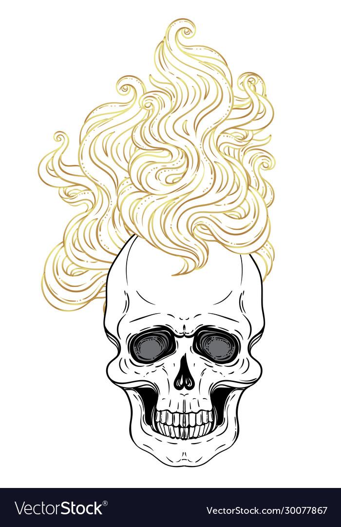 Human skull with fire or hair demon fairy tale
