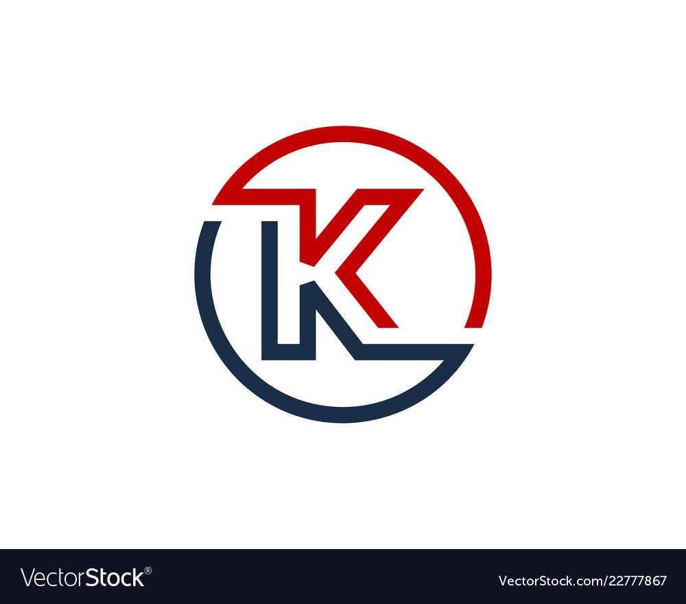 K Letter Circle Line Logo Icon Design